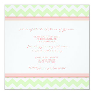 Mint Coral Chevron Engagement Party Invitations