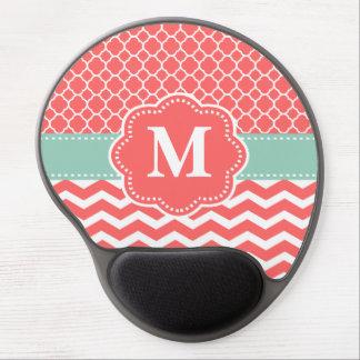 Mint Coral Chevron Monogram Mousepad