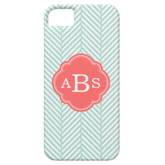Mint & Coral Chic Herringbone Custom Monogram Case For The iPhone 5