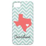 Mint & Coral Cute Texas Love Chevron Monogram