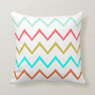 Mint/Coral/Gold/Turquoise/Copper Zig Zag Pillow