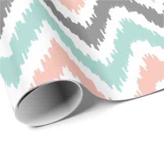 Mint Coral Gray Zigzags Ikat Pattern Wrapping Paper