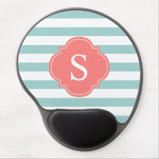 Mint Coral Horizontal Stripes Monogrammed Gel Mouse Pad