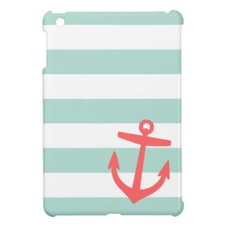 Mint & Coral Nautical Stripes and Cute Anchor iPad Mini Cases
