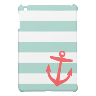 Mint & Coral Nautical Stripes and Cute Anchor iPad Mini Cover