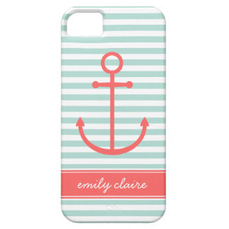 Mint & Coral Stripes & Anchor Monogram iPhone 5 Covers