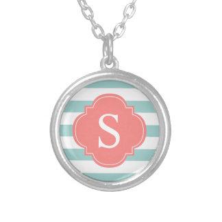 Mint Coral Stripes Monogram Custom Jewelry