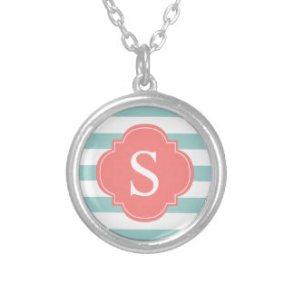 Mint Coral Stripes Monogram Silver Plated Necklace
