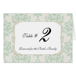 Mint Cottage Chic Wedding Table Number Card