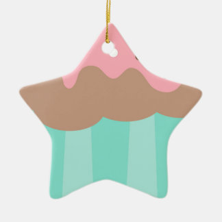 Mint Cupcake Ceramic Ornament