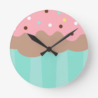Mint Cupcake Round Clock