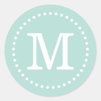 Mint Custom Monogram Envelope Seal Stickers