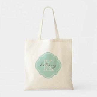 Mint Custom Personalized Monogram Budget Tote Bag