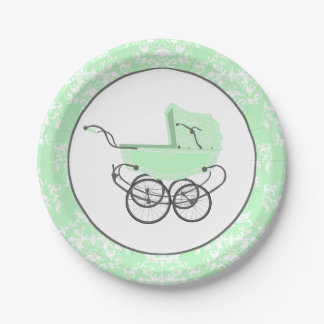 Mint Damask and Baby Buggy Baby Shower Paper Plate