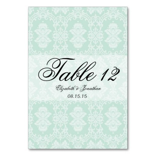 Mint Damask and Ribbon Wedding Table Card