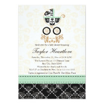 MINT DAMASK BABY CARRIAGE BABY SHOWER 13 CM X 18 CM INVITATION CARD