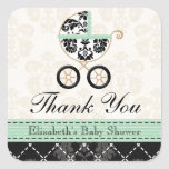 MINT DAMASK BABY CARRIAGE THANK YOU SQUARE STICKERS