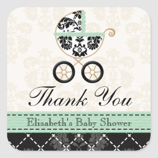MINT DAMASK BABY CARRIAGE THANK YOU STICKERS