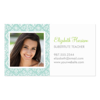 Mint Damask Custom Photo Pack Of Standard Business Cards