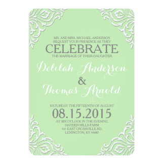 "Mint Damask Filigree Elegant Wedding Invitation 5"" X 7"" Invitation Card"