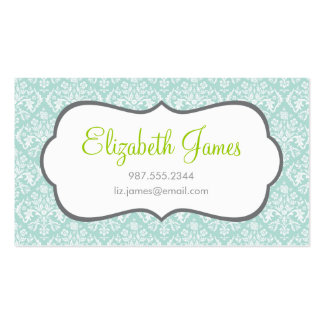 Mint Damask Pack Of Standard Business Cards