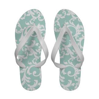 Mint Damask Print Sandals