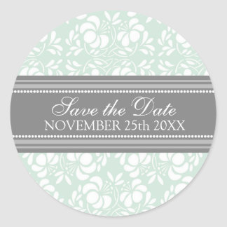 Mint Damask Save the Date Envelope Seal Round Sticker