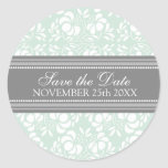 Mint Damask Save the Date Envelope Seal Round Stickers