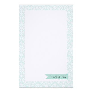 Mint Damask Stationery