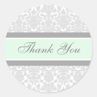 Mint Damask Thank You Wedding Envelope Seals Round Sticker