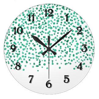 Mint Dazzle Confetti Large Clock