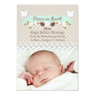MINT DOVE BABY'S 1ST CHRISTMAS HOLIDAY PHOTO CARD 13 CM X 18 CM INVITATION CARD