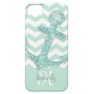 Mint Faux Glitter Anchor Chevron Personalized iPhone 5 Covers