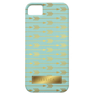 Mint Faux Gold Foil Arrows Pattern iPhone 5 Covers