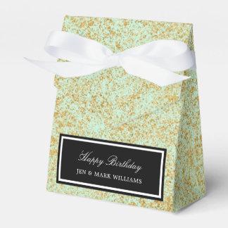 Mint & Faux Gold Glitter Dust Favour Box