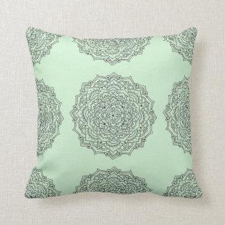 Mint Flower Mandala Throw Pillow