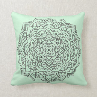 Mint Flower Mandala Throw Pillow