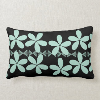 Mint Flowers Black Pillow