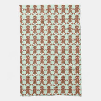 Mint Gingerbread Boys Christmas Kitchen Towel