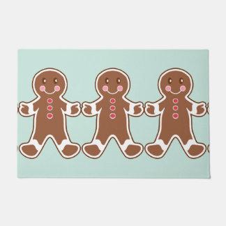 Mint Gingerbread Boys Doormat