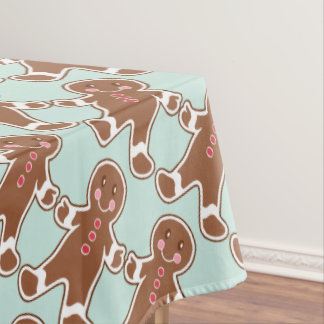 Mint Gingerbread Boys Tablecloth