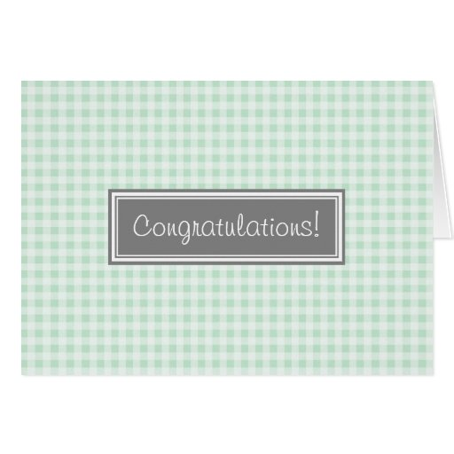 Mint Gingham Congratulations New Baby Boy Greeting Cards