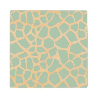 Mint Giraffe Print Maple Wood Coaster
