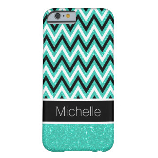 Mint Glitter and Black Chevron iPhone 6 Case