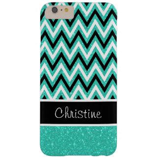 Mint Glitter Black Chevron iPhone 6 Plus Case