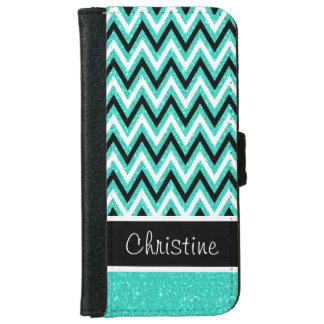 Mint Glitter & Black Chevron iPhone 6 Wallet Case