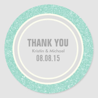 Mint Glitter & Silver Thank You Round Stickers