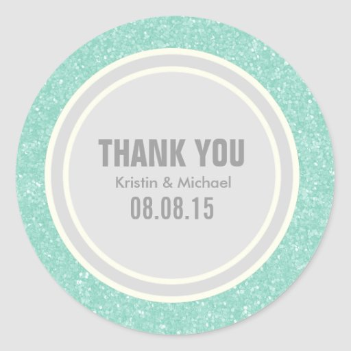 Mint Glitter & Silver Thank You Round Stickers Round Stickers