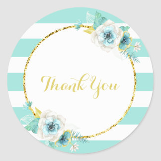 Mint, Gold and White Floral Thank You Stickers