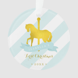 Mint & Gold Carousel Horse Baby's First Christmas Ornament